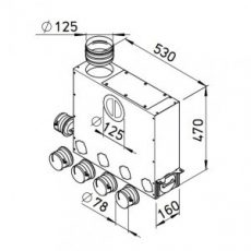 FRS flexibilis csőrendszer-NÁ75, Elosztódoboz  FRS-MVK 4+1-75/125