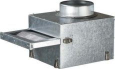 KAM FFK125 Kandalló ventilátor szűrőház fém szűrőbetéttel Na125