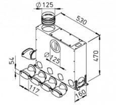FRS flexibilis csőrendszer-ovál, Elosztódoboz  FRS-MVK 4+1-51/125
