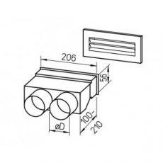 FRS flexibilis csőrendszer NÁ75, Fali átvezetés + rács  FRS-WDS 2-75
