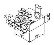FRS flexibilis csőrendszer-ovál, Elosztódoboz  FRS-VK 10-51/160