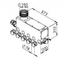 FRS flexibilis csőrendszer-NÁ75, Elosztódoboz  FRS-MVK 5+2-75/160